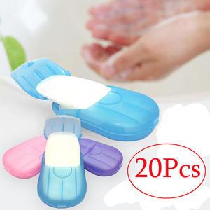 Image 2 - Travel portable disinfectant soap paper 20pcs disposable convenient hand sanitizer soap tablets mini clean soap tablets