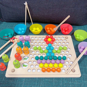 Image 2 - Kids Toys Montessori Wooden Toys Hands Brain Training Clip Beads Puzzle Board Math Game Baby Early Educational Toys For Children
