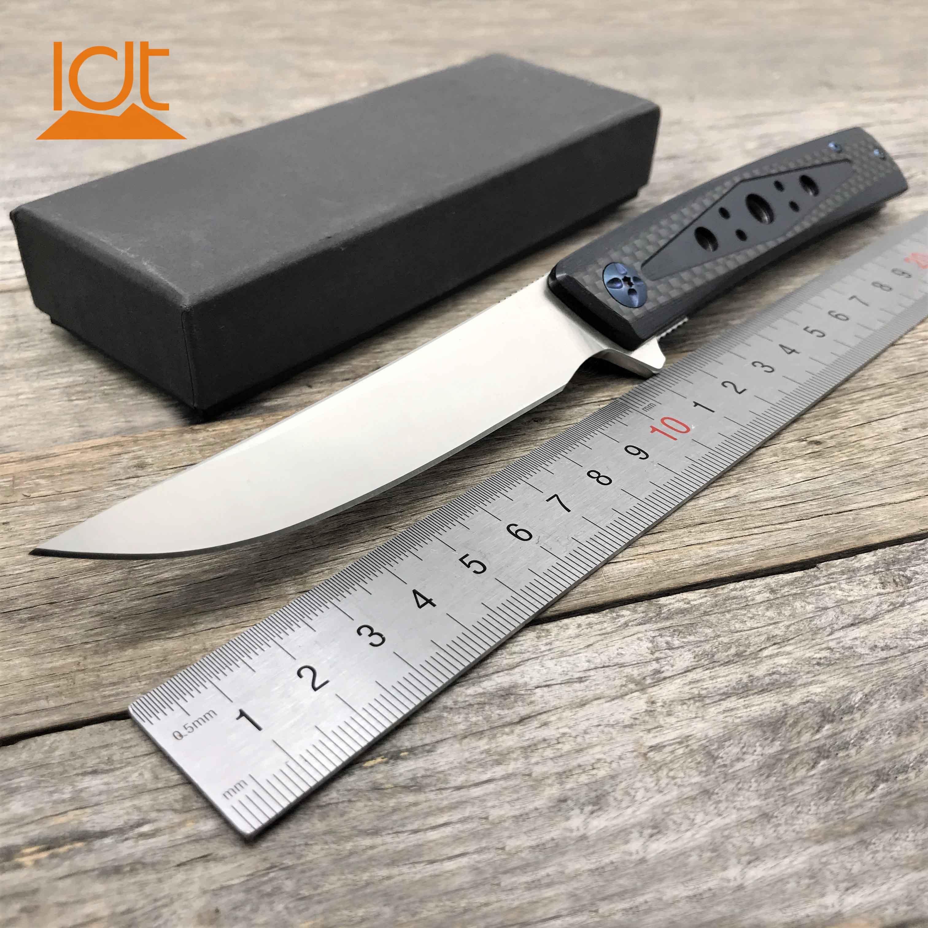 LDT D25 Folding Knife D2 Blade Carbon Fiber G10 Handle Ceramic Ball Bearing knife Hunting Survival Tactical Camping Knives Tool