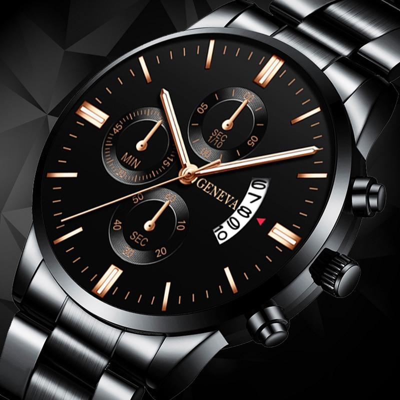 Men Militar Stainless Steel Watches Luxury Calendar Quartz Wristwatch Mens Business Casual Watch For Man Clock Relogio Masculino