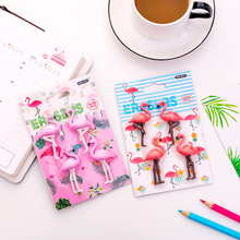 4pcs/pack Kawaii Flamingo Shape Pencil Eraser Party Gift Erasers For Kids Back to School Office Supplies Decorative