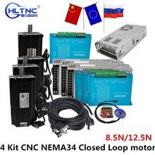 Moteur à boucle fermée CNC nema 34, 4 kits, 86HSE, 8, 5n/12, 5n, 6A, hybride nema 34 HBS860H et 400W, alimentation cc, + carte dinterface MACH3