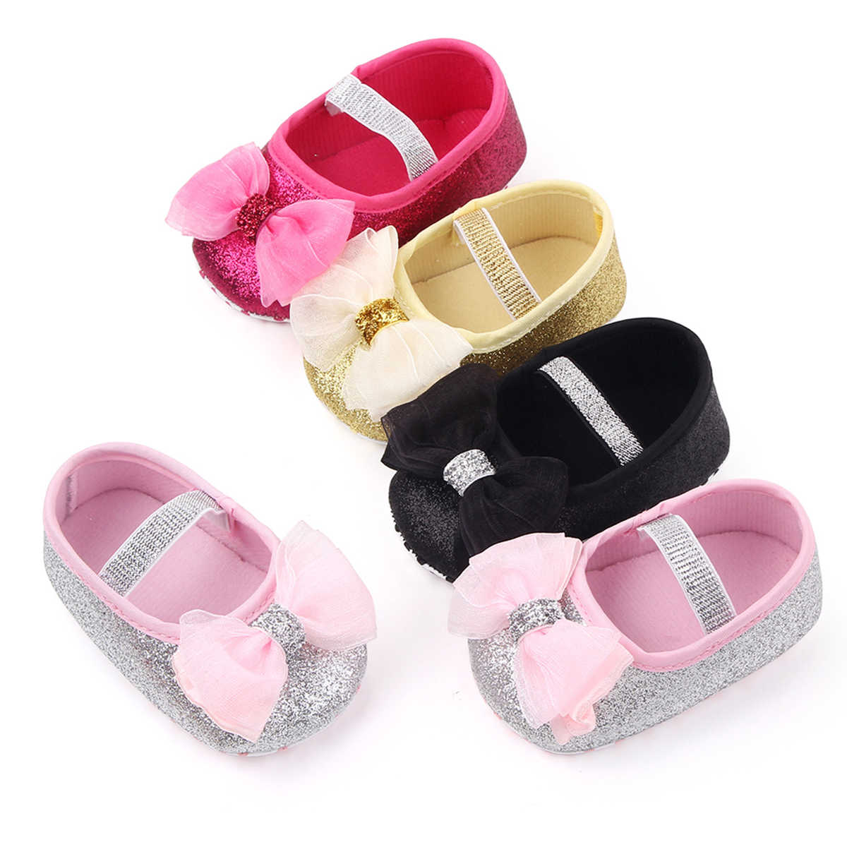 Infant Newborn Baby Girls  Spring Summer Autumn Flats Glitter Bowknot Princess Dress Shoes No-Slip First Walkers