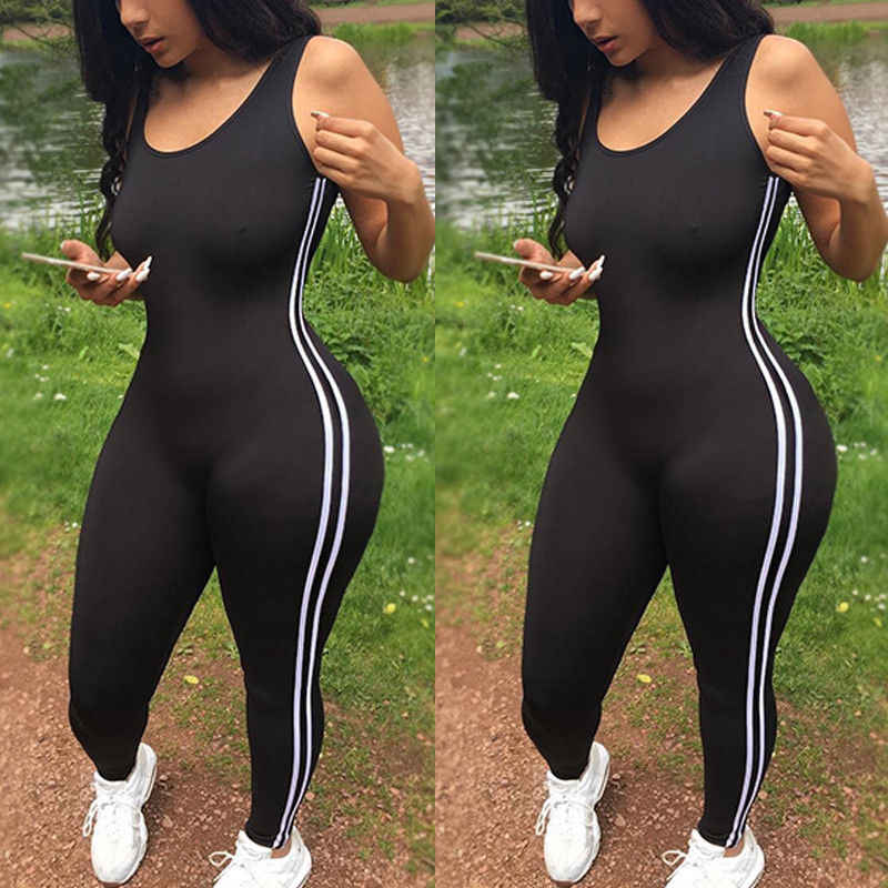 Sexy Vrouwen Yoga Jumpsuit Sport Gym Running Fitness Legging Broek Athletic Mouwloze Romper Trainingspak Sportkleding