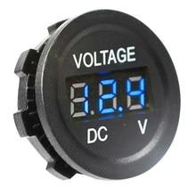 Yuvarlak su geçirmez oto tekne araba motosiklet Mini dijital voltmetre DC6V-30V LED Panel Volt gerilim metre cihazı monitör ekran