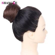 SHANGKE девочек коричневый блондинка булочка волос шиньон синтетический пончик ролика шиньоны высокая температура волокна для женщин