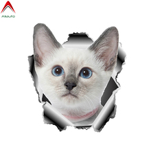 Volkrays 3D White Pet Cat Car Stickers Torn Metal Automobiles Motorcycles Window Bumper Decor Waterproof PVC Decal 13cm*12cm cheap Aliauto The Whole Body Glue Sticker Animal Creative Stickers Not Packaged