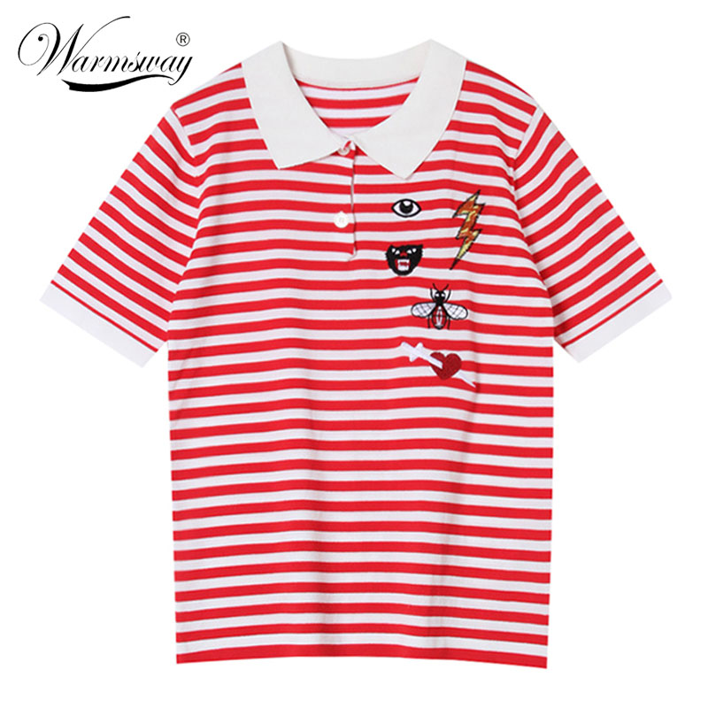 Summer Striped Contrast Color Short Sleeve Top Bee Eyes Heart Embroidery T-Shirt Pullover Knitwear Korean Design Clothes   B-191