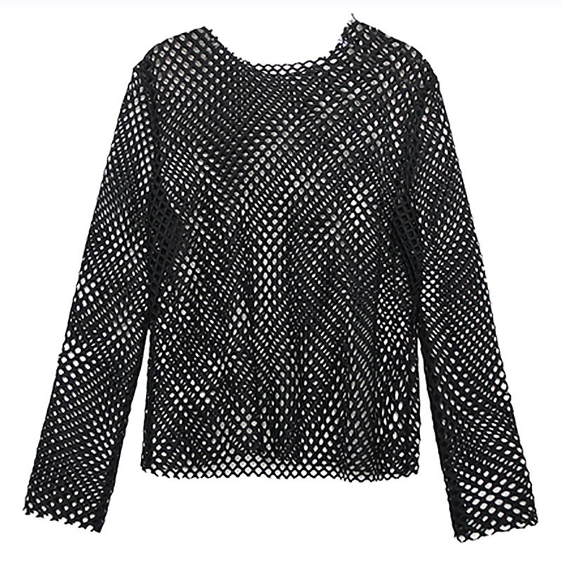 [EAM] Women Black Brief Mesh Perspective Big Size T-shirt New Round Neck Long Sleeve  Fashion Tide  Spring Autumn 2020 1DC348 4