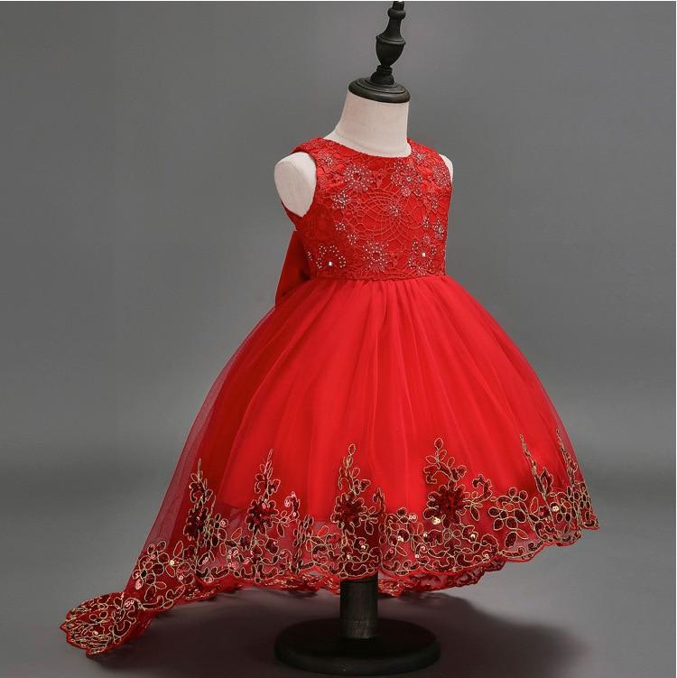Girls Tailing Dress Children Crochet Princess Dress Host Dress Children Wedding Dress