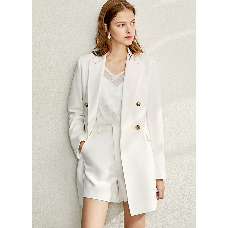 Amii Minimalism Spring Suit Set Women Causal Lapel Olstyle Coat Half Solid Short Pant  12070116