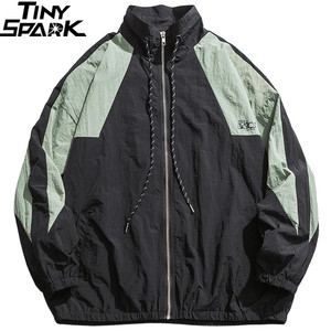 Image 3 - Erkekler Hip Hop rüzgarlık ceket Retro renk blok Patchwork Harajuku Streetwear ceket palto fermuar parça ceketler sonbahar 2019 yeni