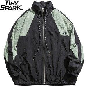 Image 3 - Homens hip hop blusão jaqueta retro cor bloco retalhos harajuku streetwear jaqueta casacos com zíper jaquetas pista outono 2019 novo