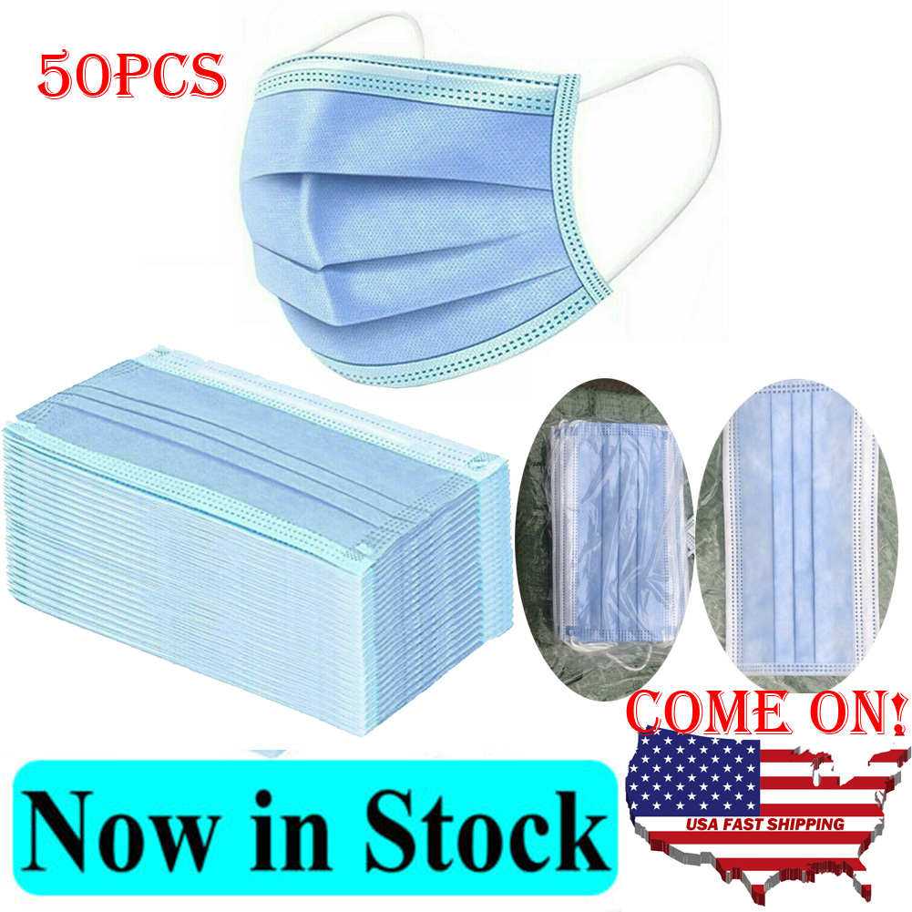 50pcs Spot Goods Blue Wholesale Face Mask 3 Ply Disposable Anti-Bacteria Ear Loop Face Mouth Mask Anti-Dust Proof Mouth Mask