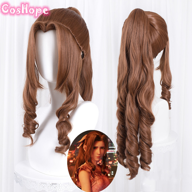 Aerith Gainsborough Cosplay Final Fantasy Cosplay Women 80cm Long Curly Brown Wig Cosplay Anime Heat Resistant Synthetic Wigs