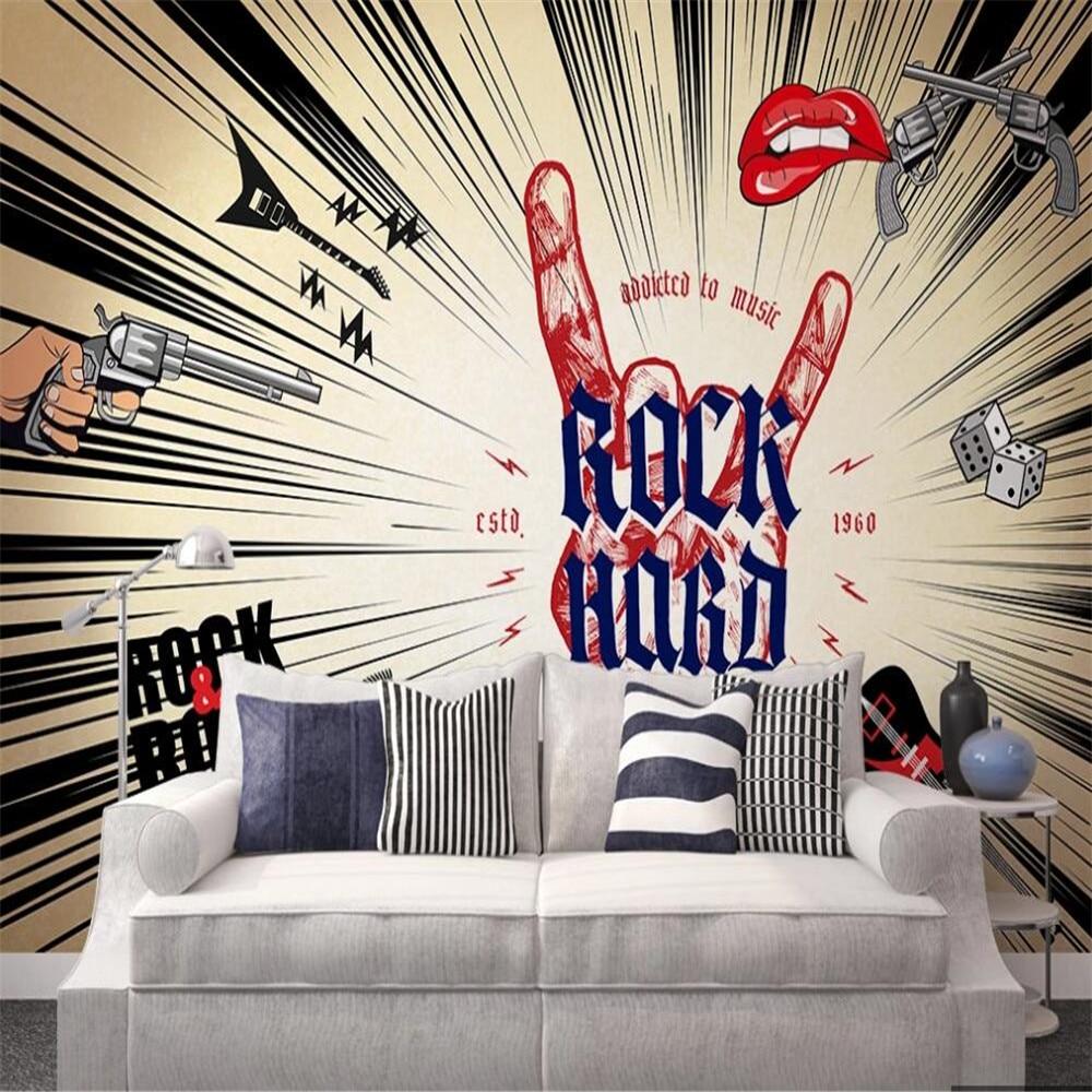 Drop Shipping Custom 3D Wallpaper Mural Rock Music Abstract Art Background Wall Decoration Painting Wallpaper Illustration