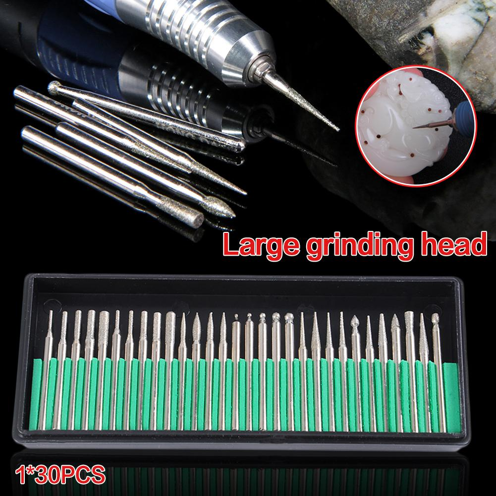30PCS Diamond Grinding Rods Corundum Abrasive Rods Jade Glass Engraving Head Polishing Needle For Drill Tool Hand Tool Set
