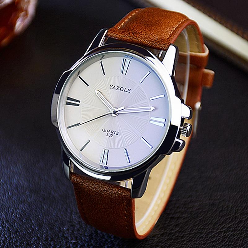 Hot YAZOLE Mens Watches Top Brand Luxury Blue Glass Watch Men Watch Waterproof Leather Roman Men's Watch Male Clock Relojes Saat