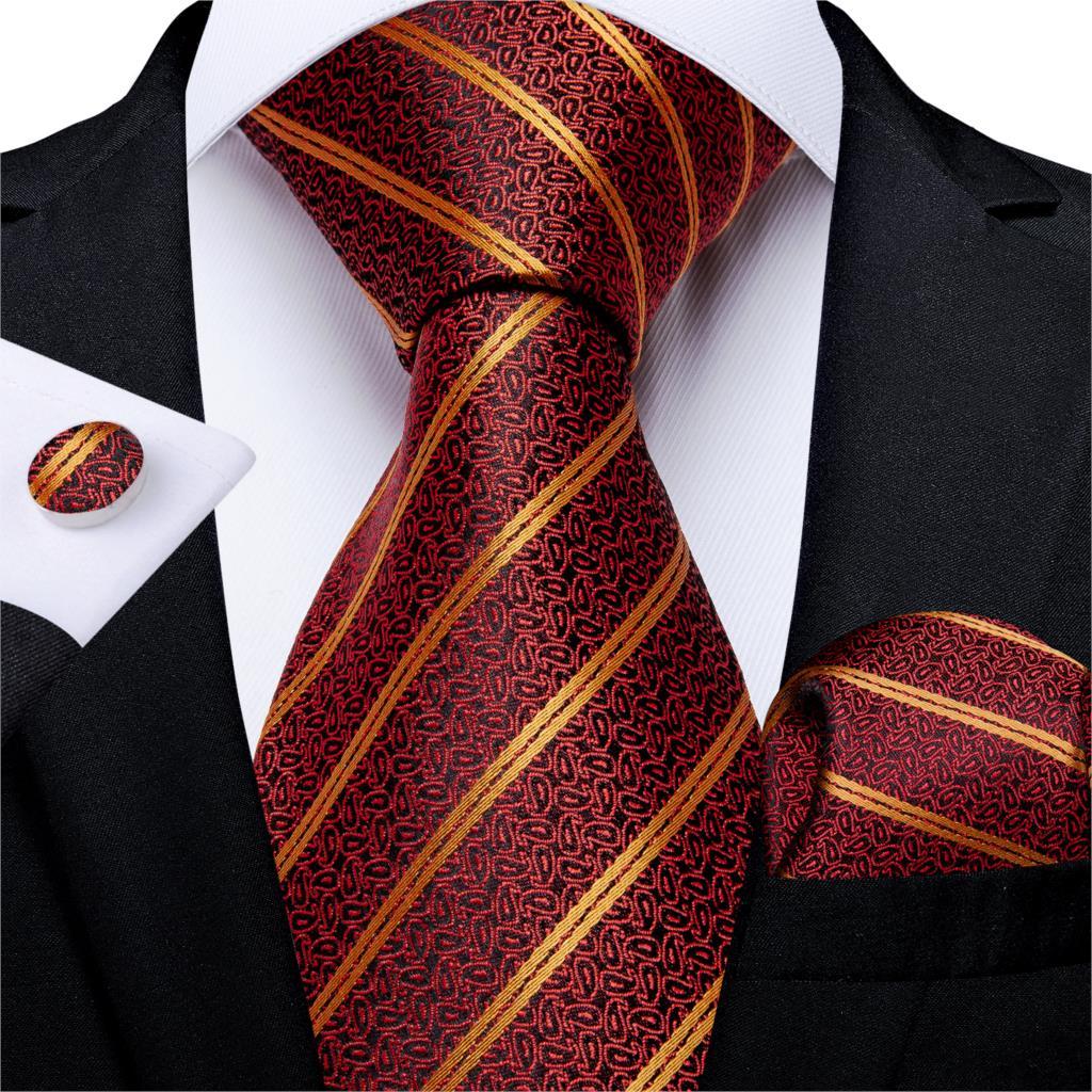 Men Tie Red Gold Striped Quality Wedding Tie For Men Hanky Cufflink Silk Tie Set DiBanGu Novelty Design Business MJ-7316