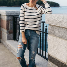2020 Fall Stripe Women Pullovers Sweater Elegant Knitted Solid Ladies Sweaters Female Streetwear Tops Aesthetic Outerwear(China)