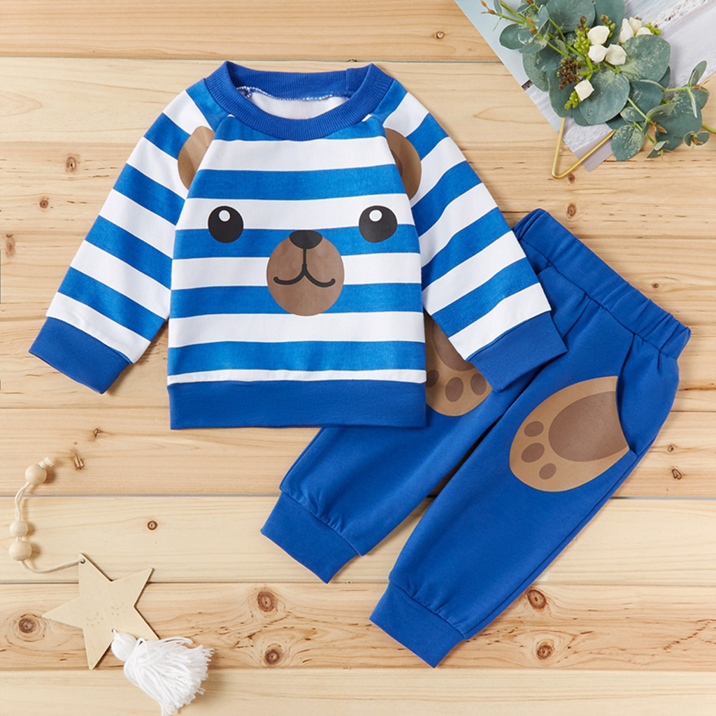 2Pcs Kids Baby Outfits Cat Print Hooded Top Sweatshirt+Stripped Pants Clothes Sets