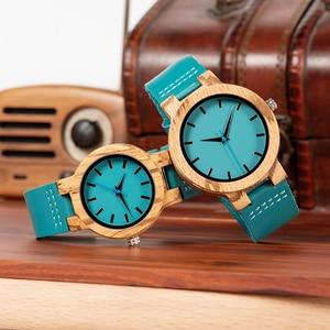 Image 4 - ボボ鳥女性男性腕時計ブルーレザーストラップカップルクォーツ腕時計愛好家のギフト時計木製腕時計ボックスドロップシップリロイhombre