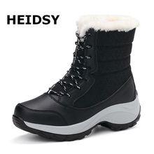 Heidsy damskie śniegowe buty zimowe buty ocieplane grube dno platformy wodoodporne botki dla kobiet grube futrzane bawełniane buty duże rozmiary