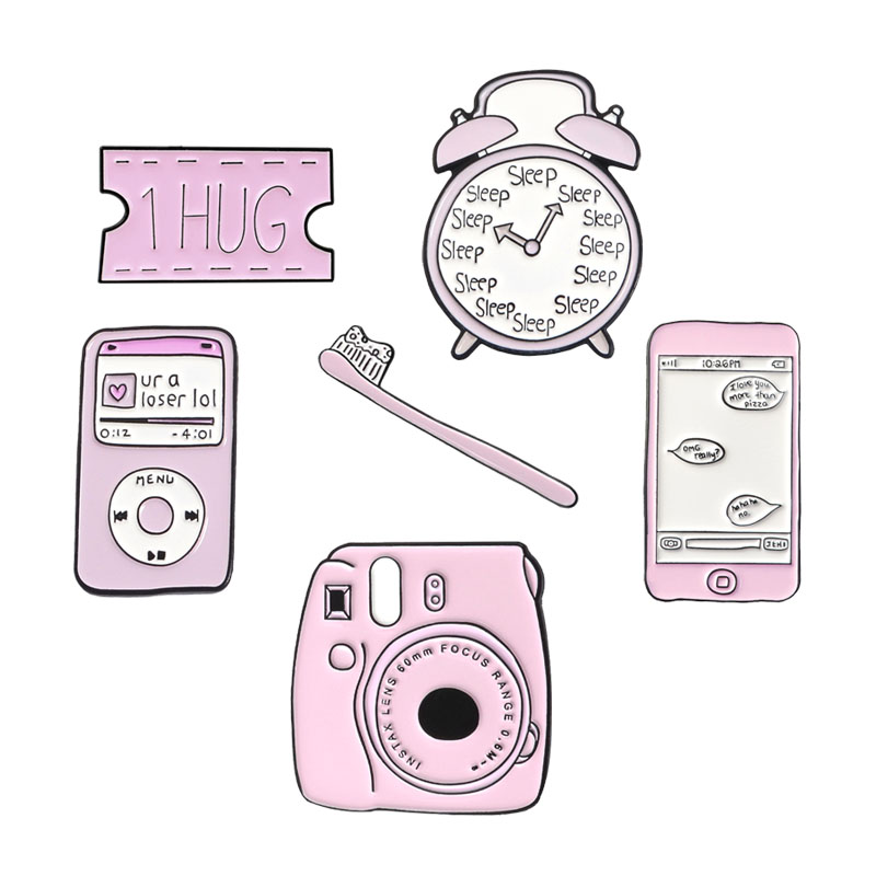 Pink Life Series Brooch Cartoon MP3 Camera Mobile Toothbrush Alarm Clock Kiss Cute Child Enamel Pins Denim Shirt Badge Gifts image