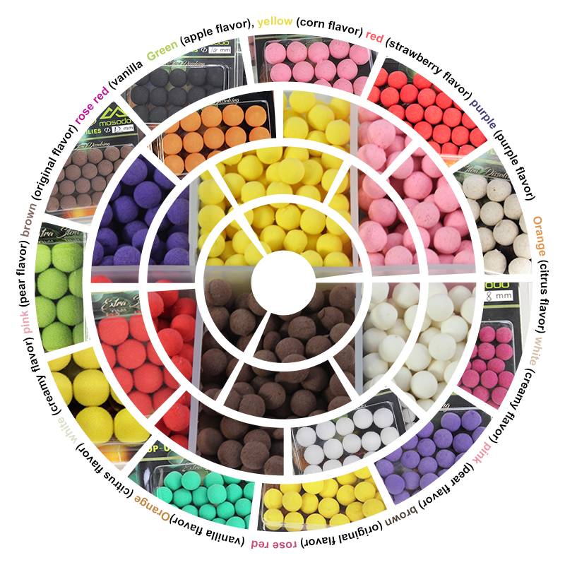 18pcs lot Mosodo PVA Fishing Pop Ups Beads Floating Bead Boilies Ball Lure Pop Up Bait Carp Fishing Popup Colored Lures in Fishing Lures from Sports Entertainment