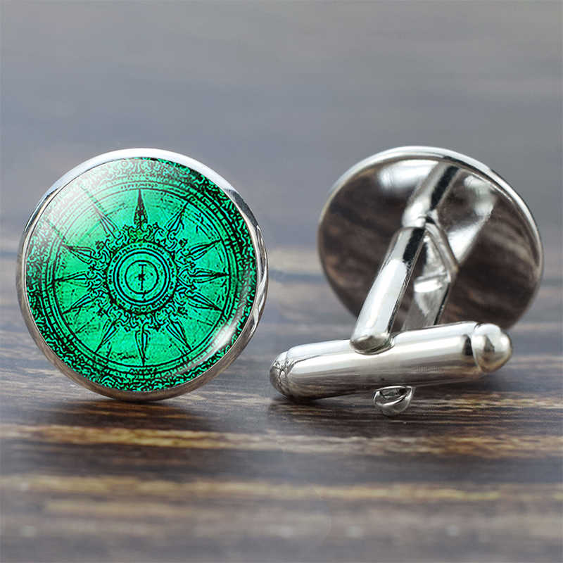 Gemelos de brújula Vintage reloj de brújula patrón de velero gemelos de aleación para hombres regalo cabujón de cristal (no es una brújula Real)