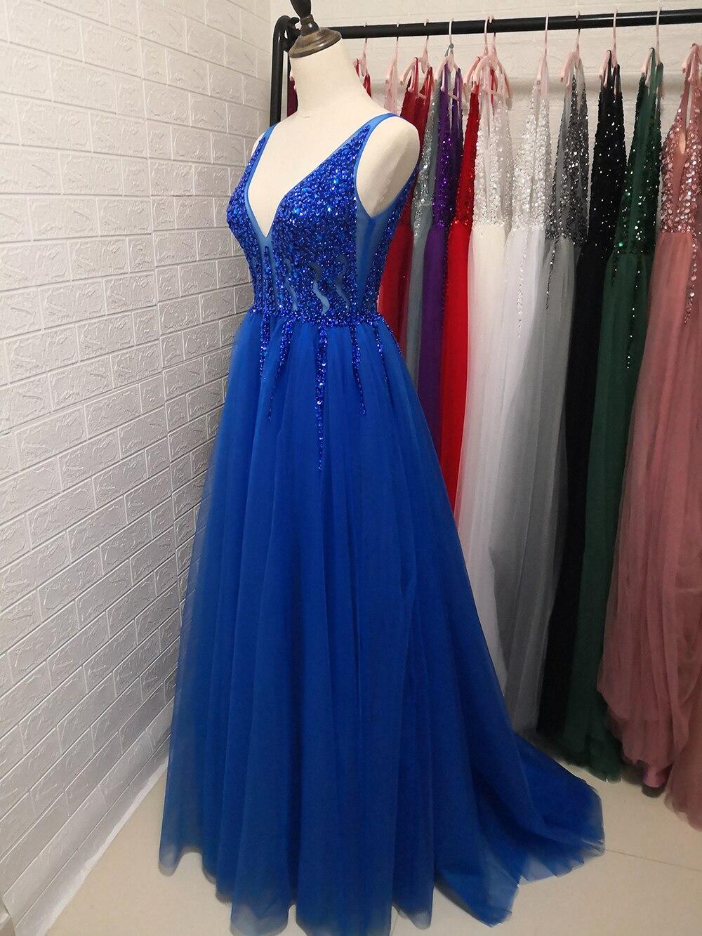 Сексуальное длинное вечернее платье с глубоким v-образным вырезом и разрезом сбоку, Новое поступление года, блестящее платье с высоким разрезом и открытой спиной, Abendkleider Lang - Цвет: royal blue