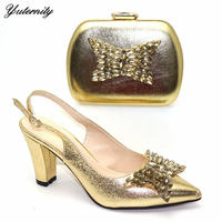 Latest Design Decoration With Butterfly Woman Shoes And Bag Set African High Heels Shoes And Matching Bag For Wedding Size 38 42
