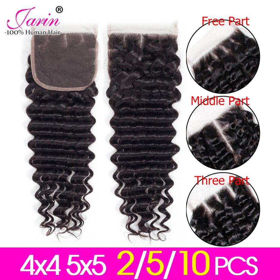 Jarin Hair 2-5-10 pcs/lot 4x4 Brazilian Closure Deep Wave Human Hair Lace Closure Free/Middle/Three Part Remy hair Natural Color