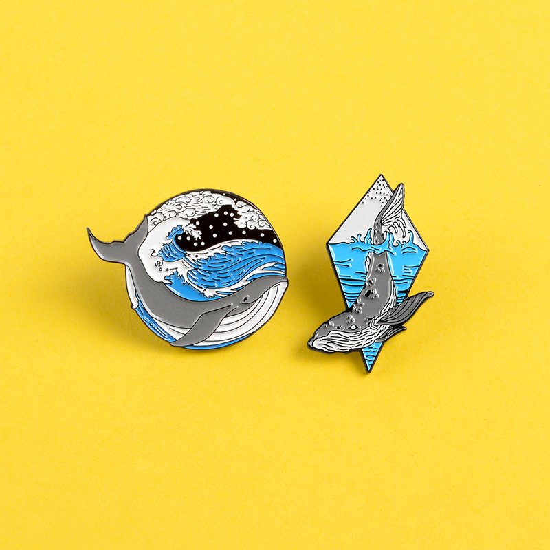 Deep sea <font><b>whale</b></font> pin Blue Wave Lonely grey <font><b>whale</b></font> enamel pins and brooches Lapel pin badge Clothes backpack bag Animal jewelry gift image