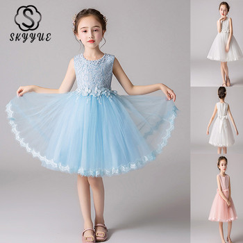 Skyyue Kids Party Dresses Beeding O-Neck Sleeveless Flower Girl Dress for Wedding Tulle Knee-Length Communion Dress 2019 BX2823 kids girls summer dress red yellow solid color o neck flowers pattern a line knee length regular sleeveless girl dresses 5ds274