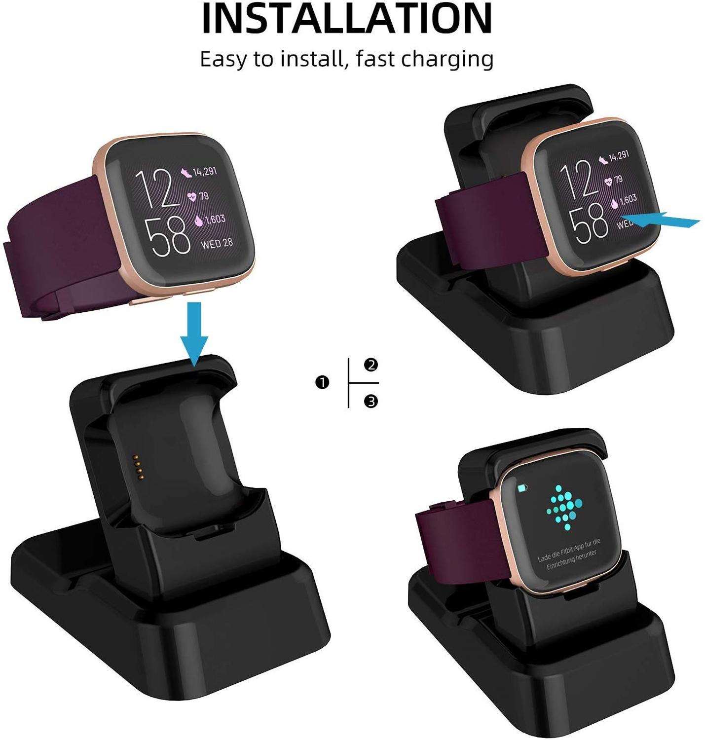 For Fitbit Versa 2 Charger Stand Replacement Charging Stand Clip Charging Cradle Dock Adapter Holder Compatible With Fitbit Vers