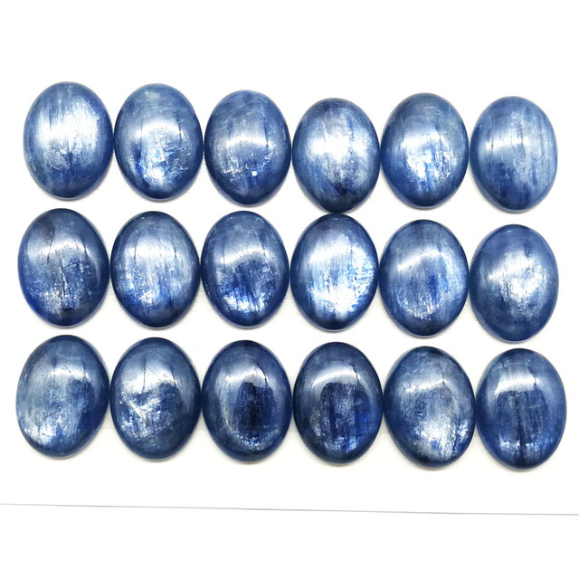 5pcs/lot Top Quality Natural Kyanite 15*20*5mm Oval Gem Stone Cabochon Kyanite Bead CAB Ring Face For Jewelry Maing