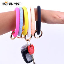 New fashion o sequin silicone womens key chain exaggerated round mens wrist car bag pendant alloy jewelry portable