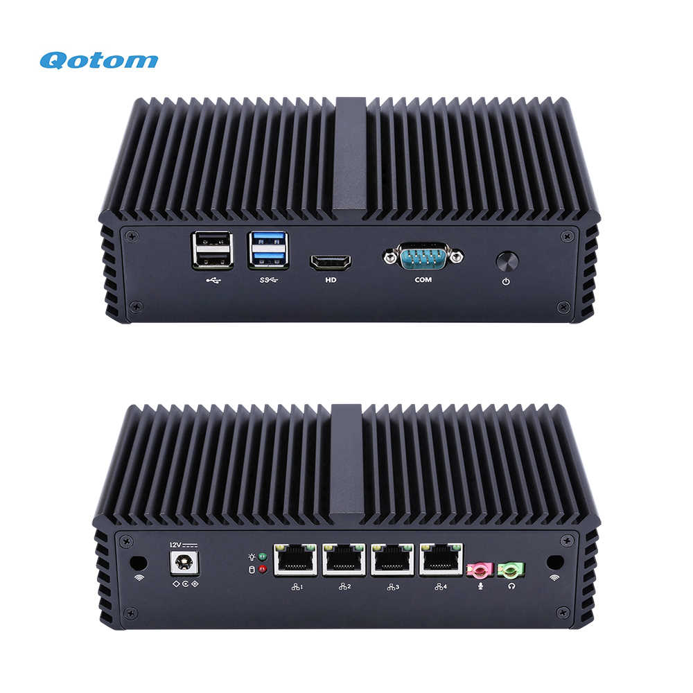 Qotom Mini PC dengan Core I3 I5 Prosesor dan 4 Gigabit NIC, AES-NI, RS232, tanpa Kipas Mini PC Pfsense Firewall Router