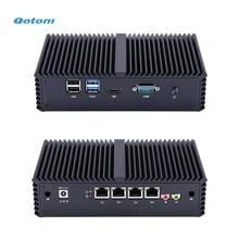Qotom جهاز كمبيوتر صغير مع معالج كور i3 i5 و 4 جيجابت NICs ، AES NI ، RS232 ، جهاز كمبيوتر مصغر بدون مروحة PFSense جهاز توجيه جدار الحماية