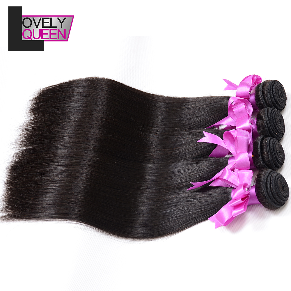 Lovely Queen Hair Brazilian Hair Weaves 4 Straight  Hair Bundles Weave Non Remy Human Hair