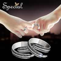 Nuevos anillos de moda para pareja especiales para mujeres 925 joyas de plata esterlina pluma de cuento de hadas boda anillo de amor regalos JZ150405