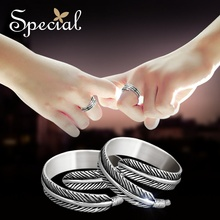 Special New Fashion Couple Rings 925 Sterling Silver Fairy Tale Feather Wedding Free Shipping for Girls Women JZ150405