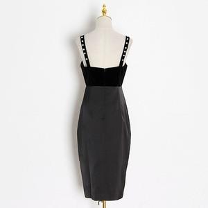 Image 4 - TWOTWINSTYLE Casual Slim Vintage Split Womens Dresses Square Collar Spaghetti Strap High Waist Dresses Female 2020 Fashion Tide
