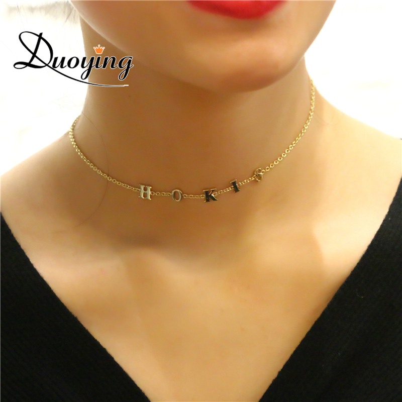Duoying Tiny Choker Necklaces For Etsy 6 Mm Letter Custom Name Personalized Necklaces Minimalism Dainty Necklaces For Women