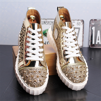 Brand Men Casual Leather Shoes Man Shoes Fashion Rivet Sneakers Men Fashion High Top Shoes Genuine Leather Men Shoes Men Loafers