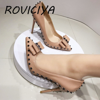 Nude patent PU leather brand 12cm high heels pointed toe sexy shallow women shoes with rivet party evening shoes MD035 ROVICIYA