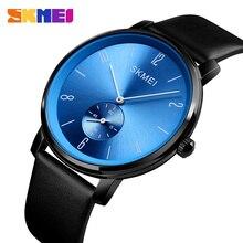SKMEI Fashion Men Sport Watches Leather Strap Big Dial Male Business Quartz Wrist Watch 30M Waterproof Relogio Masculino Clock