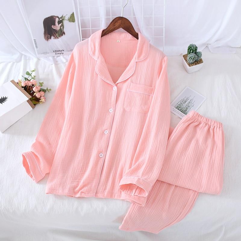 JULY'S SONG Cotton Couple Homewear Women Men Pajamas Set Laple Collar Long Sleeve Button 2 Piece Solid Comfortable Sleepwear