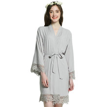 YUXINBRIDAL Solid  bride Cotton Kimono Robes With Lace Trim Women Wedding Bridal Robe Short Belt Bathrobe